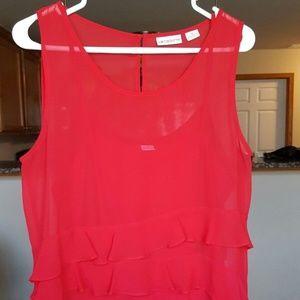 Liz Claiborne Women Ruffle Front Blouse Top/Cami